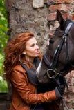 Meisje en paard Royalty-vrije Stock Afbeeldingen