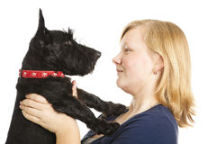 Meisje en Profiel Scotty Royalty-vrije Stock Foto's