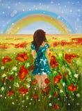 Meisje en regenboog Royalty-vrije Stock Afbeelding