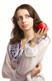 Meisje en rode appel royalty-vrije stock afbeelding