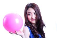 Meisje en roze bal Royalty-vrije Stock Foto