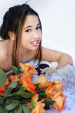 Meisje en rozen royalty-vrije stock fotografie