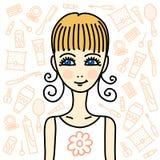 Meisje en schoonheidsproducten vector illustratie