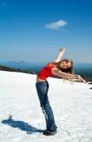 Meisje en sneeuw Stock Foto's
