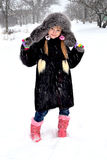 Meisje en sneeuw royalty-vrije stock foto's