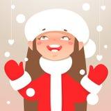 Meisje en sneeuwvlokken Royalty-vrije Stock Foto