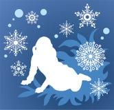 Meisje en sneeuwvlokken Stock Foto