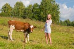 Meisje en stier stock fotografie