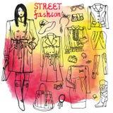 Meisje en straat de reeks van de manierkleding Schetsmatig  Royalty-vrije Stock Foto's