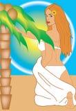 Meisje en strand Stock Illustratie