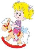 Meisje en stuk speelgoed paard stock illustratie