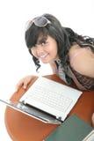 Meisje en technologie Royalty-vrije Stock Afbeelding