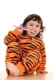 Meisje en tooth-brush Stock Foto