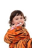 Meisje en tooth-brush Royalty-vrije Stock Afbeeldingen
