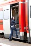 Meisje en trein Royalty-vrije Stock Foto's
