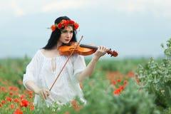 Meisje en viool Stock Foto's