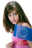 Meisje en vlag Europa royalty-vrije stock foto