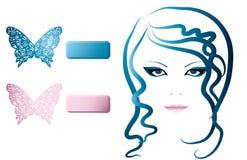 Meisje en vlinder Stock Foto