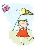 Meisje en vlinder vector illustratie