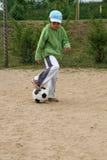 Meisje en voetbal Stock Fotografie