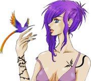 Meisje en vogel Stock Afbeelding