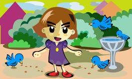 Meisje en vogel Stock Foto