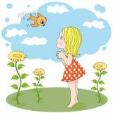 Meisje en vogel in openlucht Stock Afbeelding