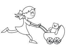 Meisje en wandelwagen die - kleuren Stock Afbeelding