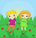 Meisje en weinig jongen in liefde vector illustratie