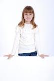 Meisje en witte raad Royalty-vrije Stock Afbeeldingen