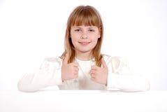 Meisje en witte raad Stock Fotografie