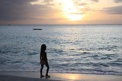 Meisje en zonsondergang stock foto