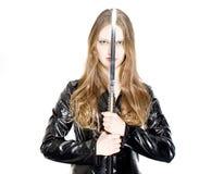 Meisje en zwaard stock afbeeldingen