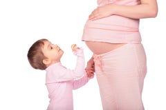 Meisje en zwanger Stock Afbeelding