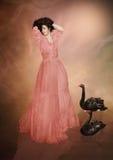 Meisje en zwarte zwanen Stock Afbeelding