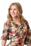 Meisje in gecontroleerde kleding royalty-vrije stock foto