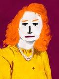 Meisje in Gele Sweater - Digitaal Art. Royalty-vrije Stock Foto