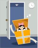 Meisje in giftbox Stock Afbeelding