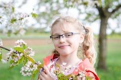 Meisje in glazen en tot bloei komend takje van boom Stock Afbeeldingen