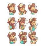 Meisje in GLB, Nauwsluitende halsketting en Blauwe Hoogste Inzameling van de Hand Getrokken Koele Geschetste Portretten van Emoji Stock Foto's