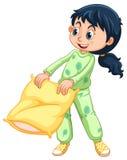 Meisje in groene pyjama's royalty-vrije illustratie