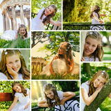 Meisje in haar Eerste Dag van de Heilige Communie Stock Afbeeldingen
