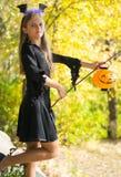 Meisje in Halloween-stijl Royalty-vrije Stock Foto's