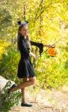Meisje in Halloween-stijl Royalty-vrije Stock Afbeeldingen