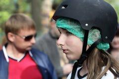 Meisje in helm Royalty-vrije Stock Foto's
