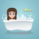 Meisje in het bad vector illustratie