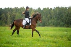 Meisje het berijden paard Royalty-vrije Stock Foto's