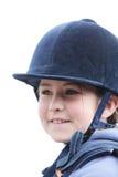 Meisje in het berijden van helm Stock Foto
