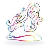 Meisje het bidden embleem royalty-vrije illustratie