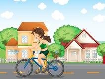 Meisje het biking vector illustratie